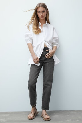 Massimo Dutti Kadın Orta Bel Crop Slim Fit Jean 05065713