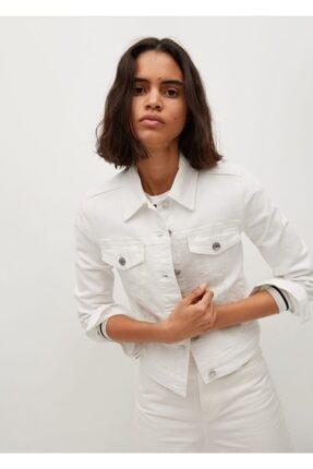 MANGO Woman Kadın Beyaz Pamuklu Kot Ceket