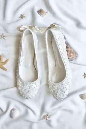 Mello Shoes Fransız Dantel Gelin Babet Ayakkabısı