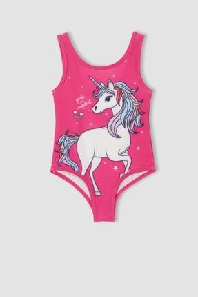 DeFacto Kız Bebek Unicorn Baskılı Esnek Dokulu Mayo
