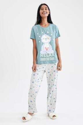DeFacto Slogan Baskılı Kısa Kollu Pijama Takımı