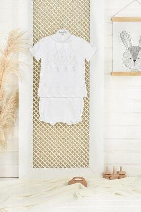 C&City Bebek Ajurlu Pamuklu Triko Şortlu Takım 5504 Beyaz