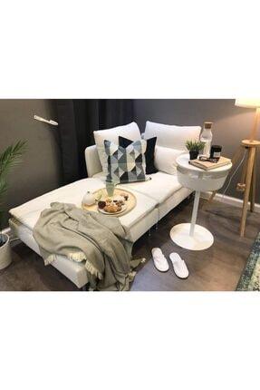 ERİZA Bella Köşe+puf Modül (kırık Beyaz) Keten Kumaş 192x99cm