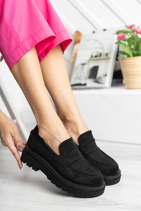 LİZETTE AYAKKABI Kadın Siyah Süet Oxford Ayakkabı