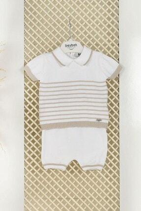 C&City Bebek Pamuklu Triko Çizgili Şortlu Takım 5512 Kirli Beyaz
