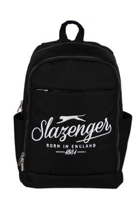Slazenger Üç Bölmeli Siyah Sırt Çantası - Nakışlı Logo - Tablet Bölmeli