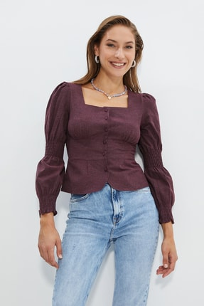 TRENDYOLMİLLA Bordo Düğme Detaylı Bluz TWOAW20BZ0857