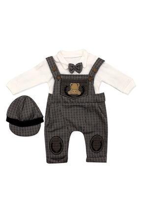 Murat Baby Kasketli Askılı Kahverengi Salopetli 3 Lü Bebek Takımı