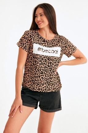 Fulla Moda Leopar Desen Becool Baskılı Bluz