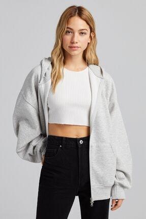 Bershka Fermuarlı Oversize Kapüşonlu Sweatshirt