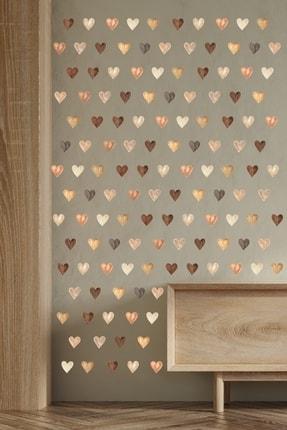 ENGINPRINT 144 Parça Suluboya Efektli Kahverengi Kalpler Duvar Stickerı