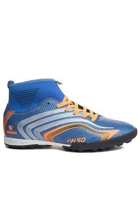 rottenchill Yüksek Bilek Çoraplı Mavi Halı Saha Ayakkabısı