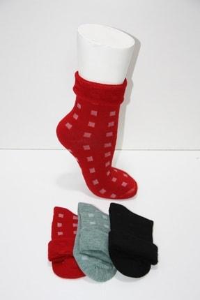 Pamela Kadın 3'lü Termal Lastiksiz Koyu Renkli Havlu Kışlık Çorap