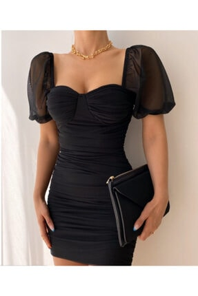 munora butik Drapeli Balon Kol Siyah Elbise