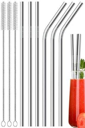HERA CONCEPT 6'lı Paslanmaz Çelik Pipet + 3 Adet Temizleme Fırçası