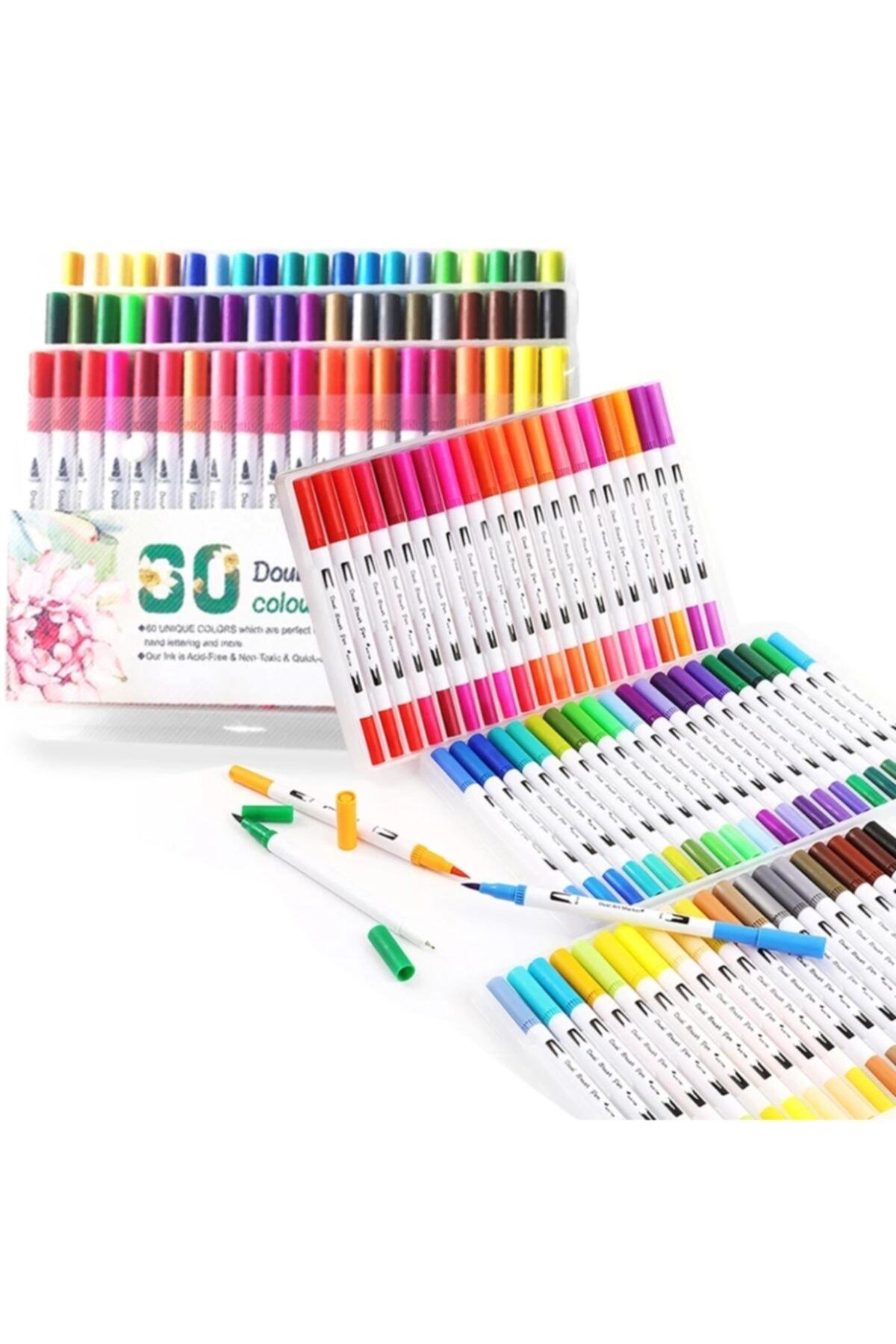 armex Brushpen Ve Fineliner 60 Renk Set Çift Taraflı Fırça Ve Yazı 1