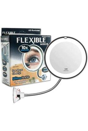 Viselia Makyaj Aynası 10x Zoom Esnek Led Işıklı Büyüteç Ayna Flexible