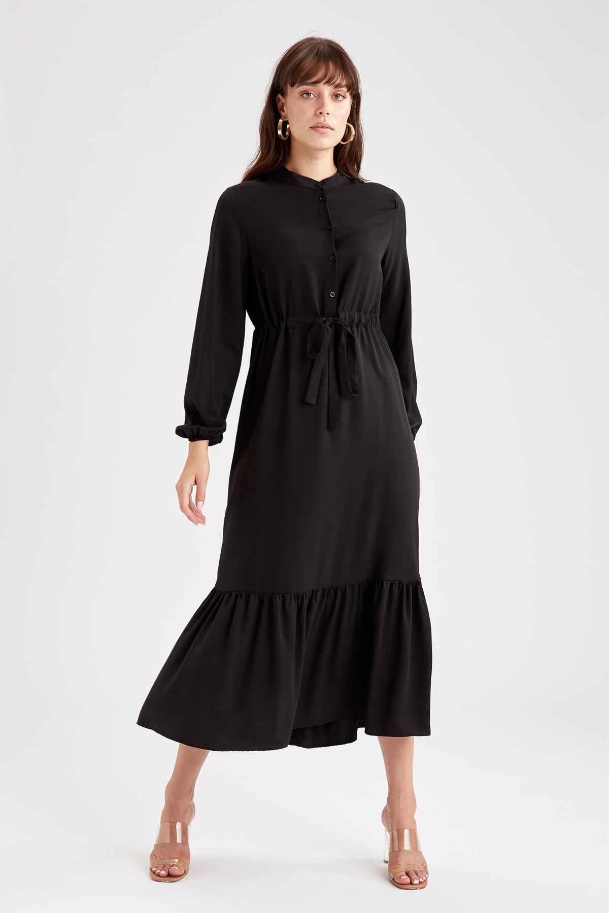 DeFacto Kadın Siyah Volanlı Beli Bağcıklı Balon Kollu Maxi ElbiseV9182AZ21AU