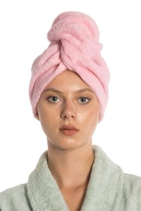 eumenia Düz Eponj Düğmeli Havlu Pembe Saç Kurulama Bonesi