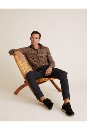Marks & Spencer Erkek Kahverengi Saf Pamuklu Ekose Oxford Gömlek T25003901M