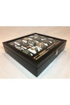 Axe 15 Bölmeli Deri Görünümlü Cam Kapklı Kol Saati Bileklik Kolye Yüzük Taki Alyans Kutusu