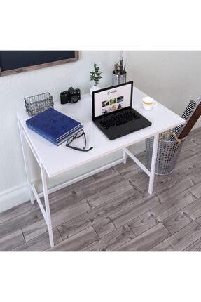DEKORFİM Country Katlanabilir Çalışma Masası Bilgisayar Masası Çizim Masası Beyaz