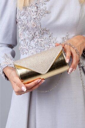 Defnella Kadın Altın Gold Simli Abiye Portföy & Clutch El Çantası