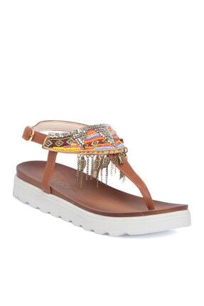Tergan Taba Deri Kadın Sandalet 64380a29