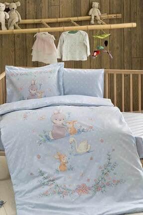 Taç Organik Bio Bebek Nevresim Takımı - Happy Bunny Mavi