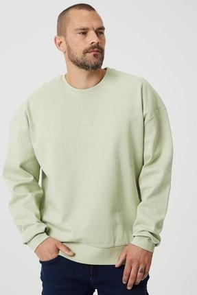 AC&Co / Altınyıldız Classics Erkek Su Yeşil Oversize Günlük Rahat Bisiklet Yaka Spor Sweatshirt