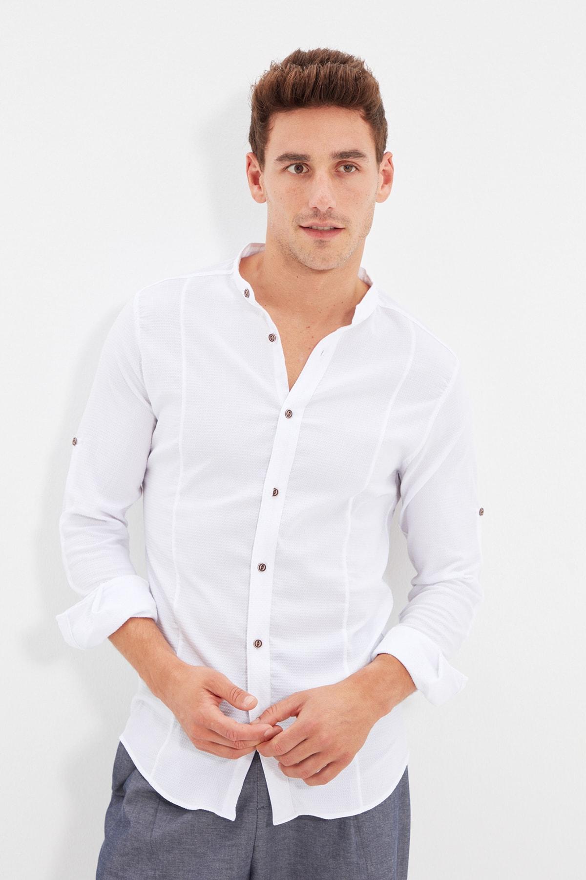 TRENDYOL MAN Beyaz Erkek Hakim Yaka Bengalin Kuplu Süper Slim Fit Gömlek TMNSS20GO0121 2