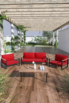 Evdemo Kobalt Bahçe Balkon Oturma Takımı Sehpalı 2+1+1 Kırmızı