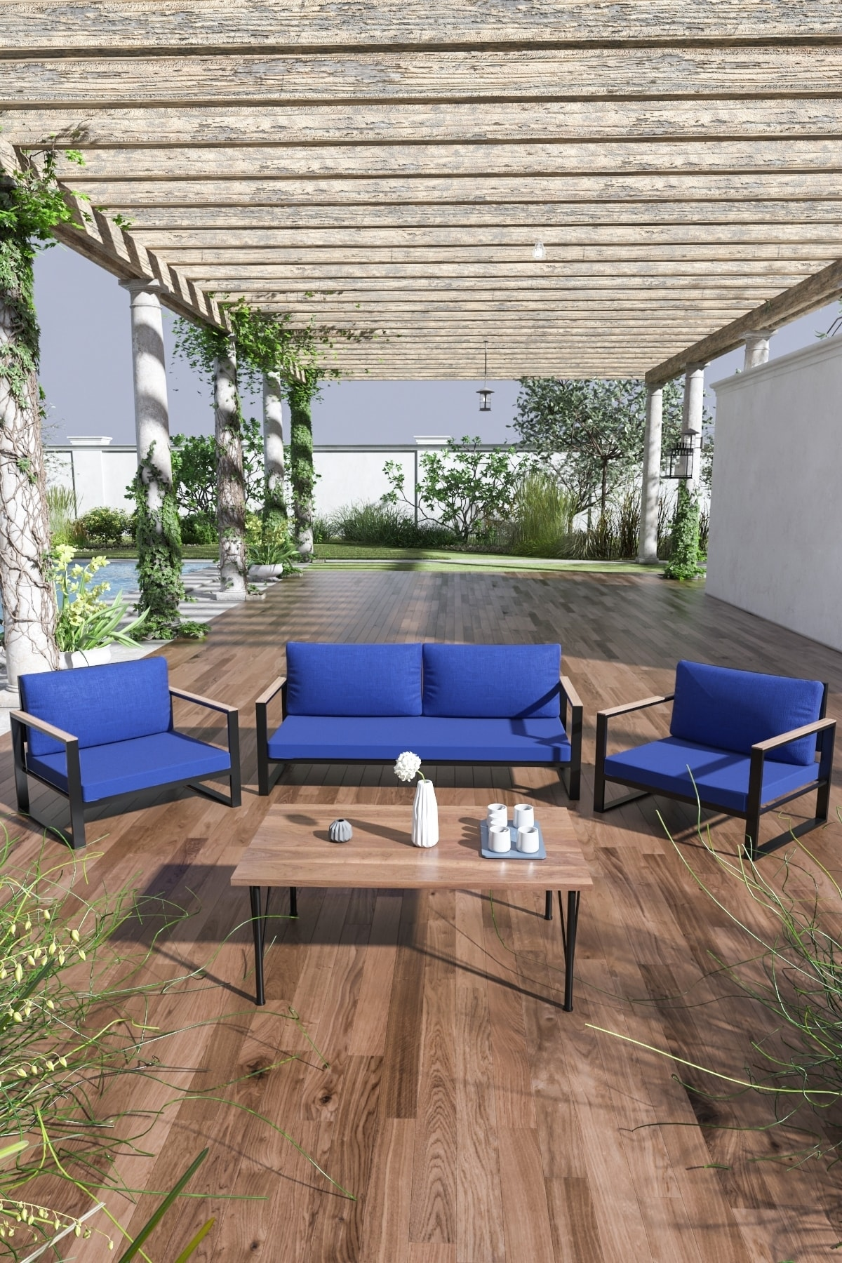 Evdemo Kobalt Bahçe Balkon Oturma Takımı Sehpalı 2+1+1 Mavi 1