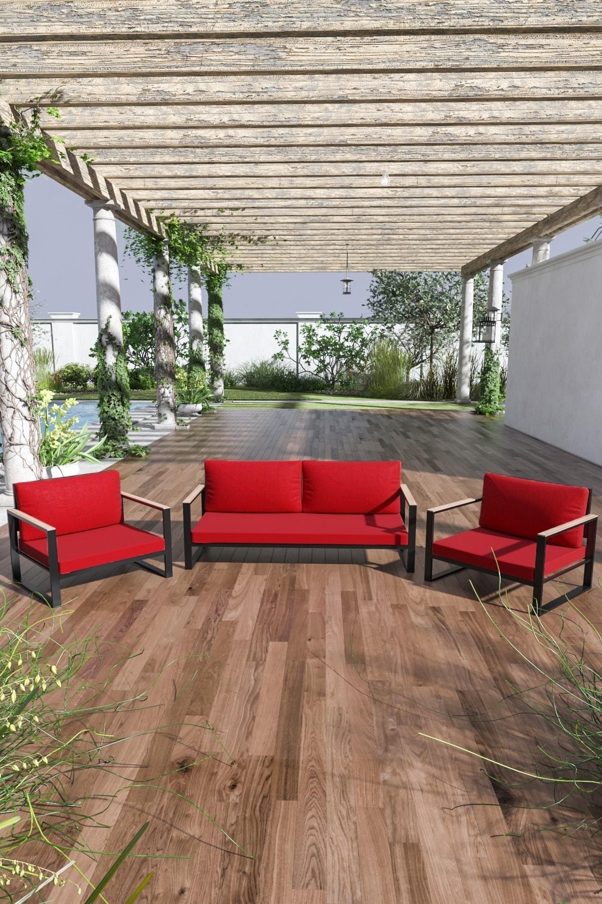 Evdemo Kobalt Bahçe Balkon Oturma Takımı 2+1+1 Kırmızı 1