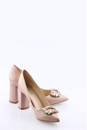Buffalo Kadın Pudra Deri Taşlı Topuklu Ayakkabı