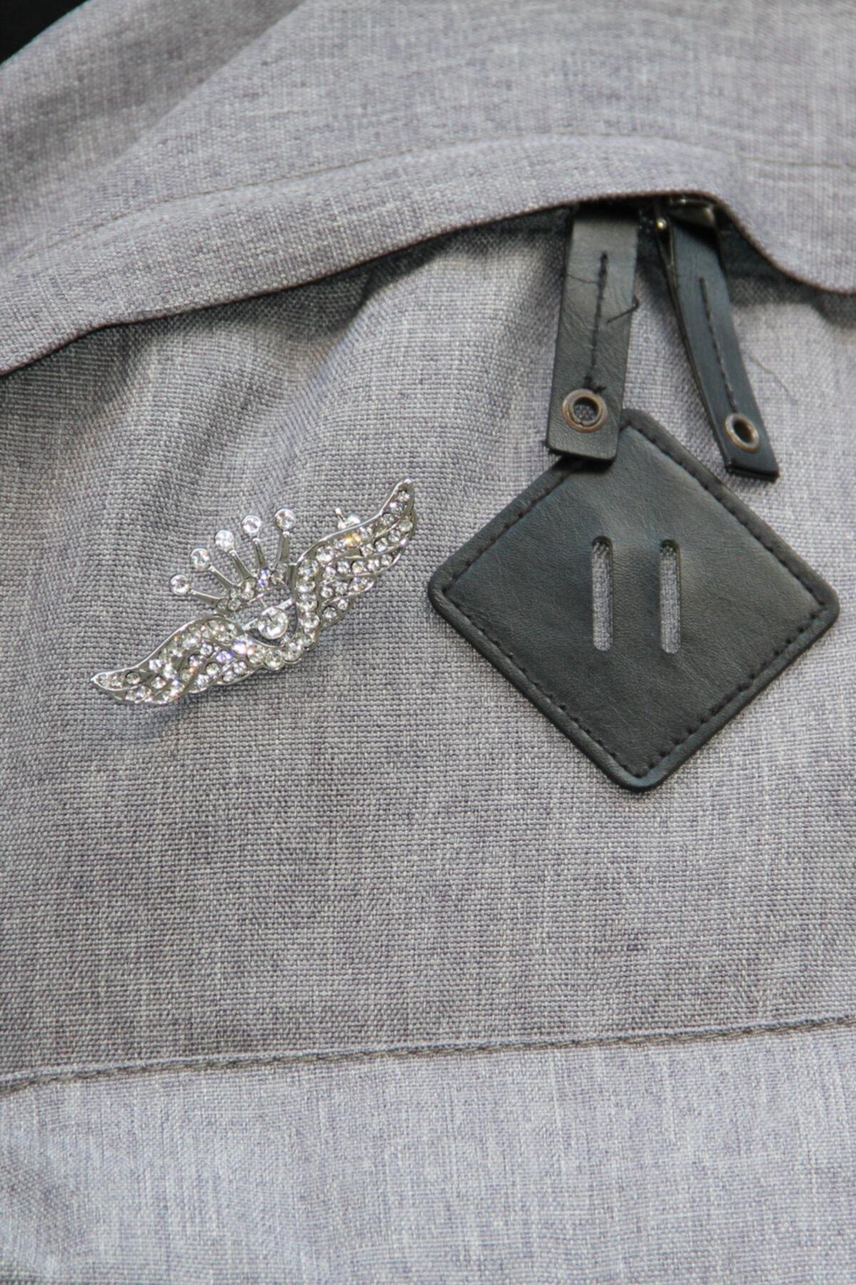 Zaim Aksesuar Gümüş Taşlı Broş 2