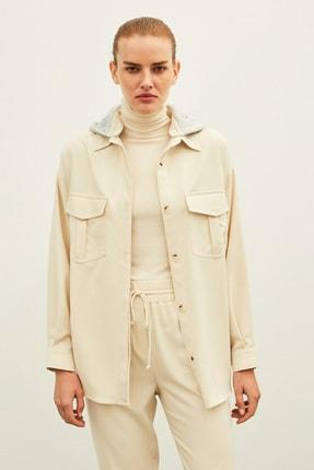 İpekyol Kadın Ekru Kapüşonlu Ceket IW6200005134