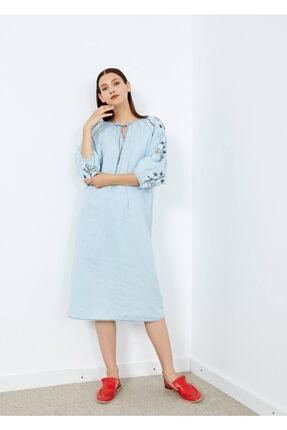 Adze Kadın Indigo Nakışlı Uzun Kol Jean Elbise Indıgo M