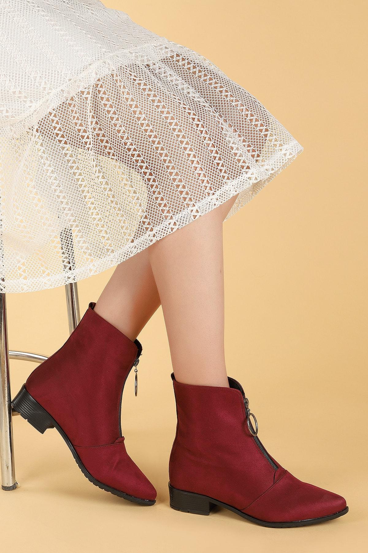 Ayakland Kadın Bordo Bot Ayakkabı 1