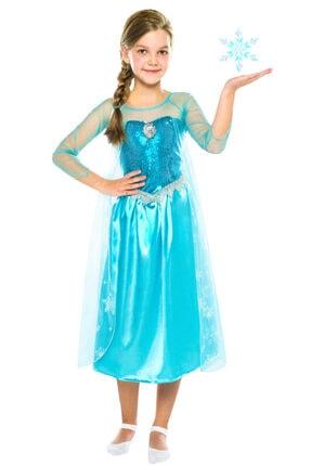 Frozen Kız Çocuk Mavi Butik Kostüm 7-9 Yaş