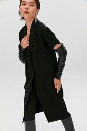 rue. Siyah Suni Deri Kolluk Detaylı Kısa Kollu Ceket