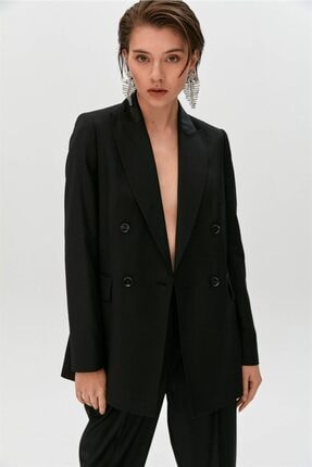 rue. Siyah Kruvaze Blazer Ceket