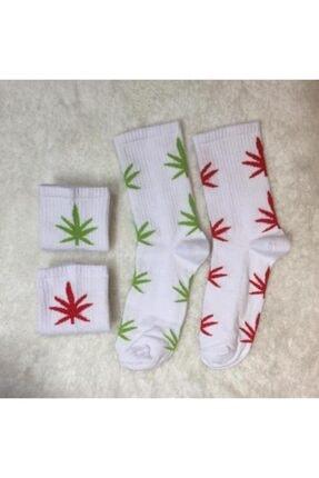 ADEL ÇORAP Unisex Beyaz 2'li Yaprak Desenli Çorap