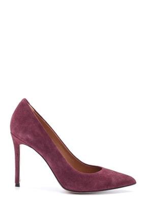 Derimod Kadın Mürdüm Süet Stiletto Ayakkabı