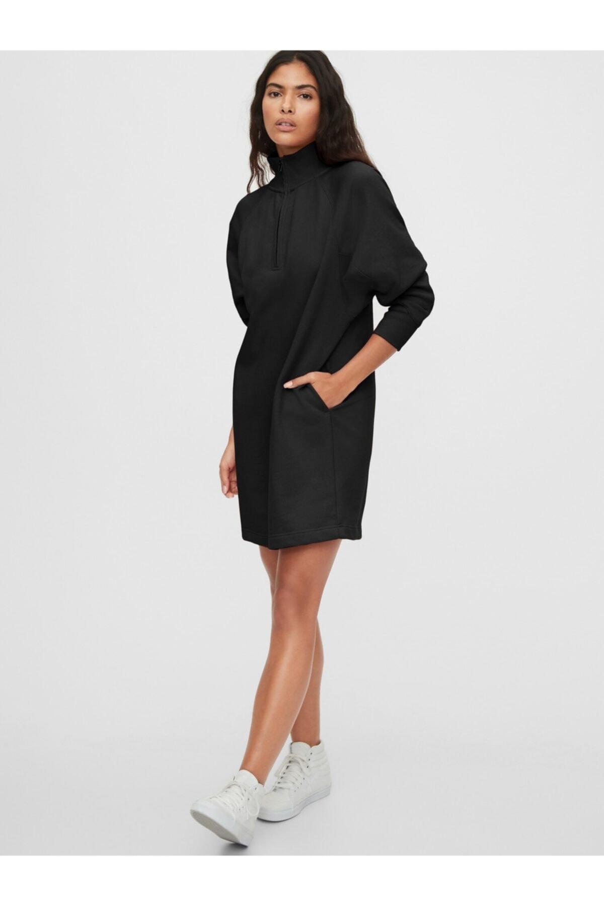 GAP Kadın Siyah Uzun Kollu Mini Elbise 1