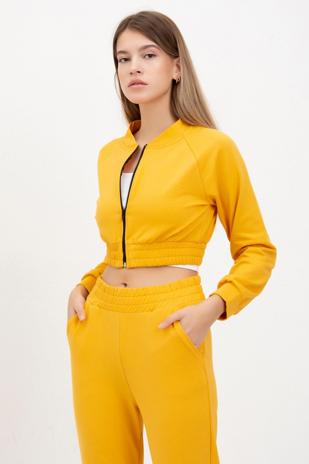 Mossta Kadın Sarı Fermuarlı Crop Takım 1