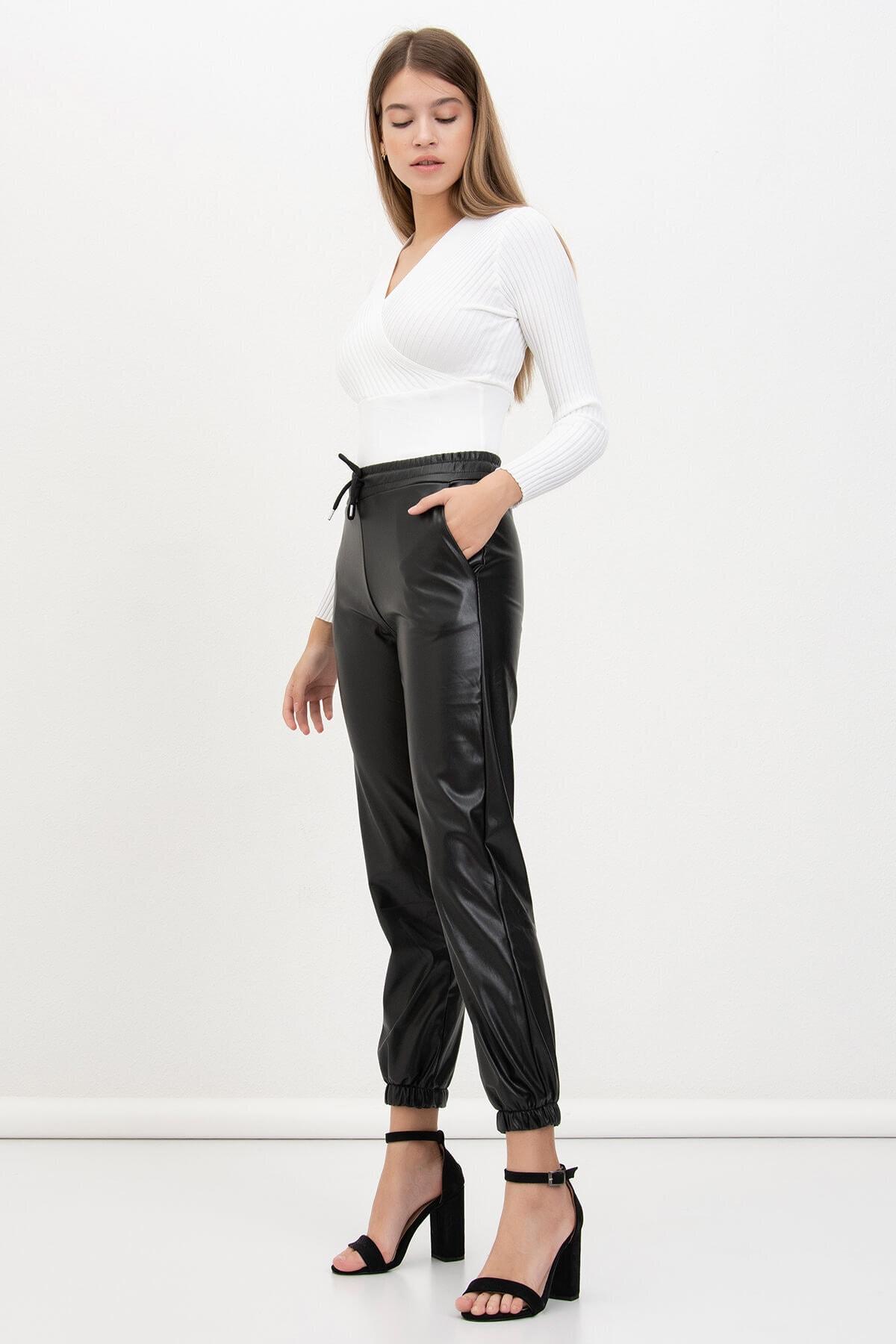 Mossta Kadın Siyah Jogger Deri Pantolon 1