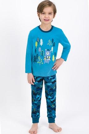 ROLY POLY Erkek Çocuk Mavi Bear Kamuflaj Pijama Takımı