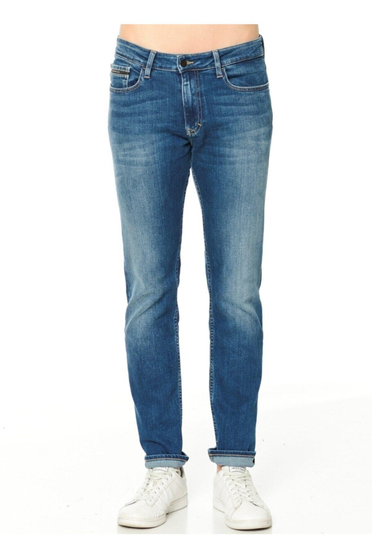 Calvin Klein Erkek Mavi Jean Pantolon  Slim Straight 2