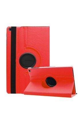 MobilCadde Samsung Galaxy Tab S6 Lite 360 Derece Döner Standlı Kırmızı Deri Kılıf
